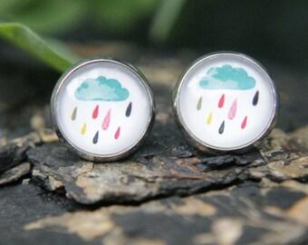 Rain Drop Earrings, Rain Cloud, Raindrops, Blue, Multicoloured, Studs, Stud Earrings, Post Earrings, Small Studs, Glass Dome Earrings