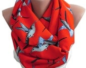 Bird Scarf Red Infinity Scarf Animal Print Scarf Spring Scarf Bird Print Scarf Christmas Gift Ideas For Her Women Fashion Accessories M