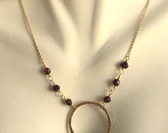 Gold Vermeil and Garnet Circle Necklace - Hammered Gold Vermeil Over Sterling Silver Garnet Circle Chain Necklace