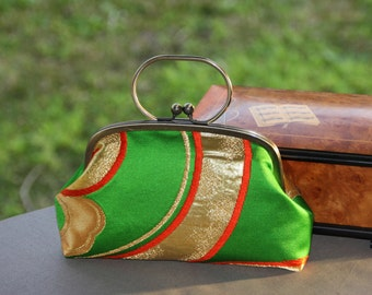 Green wave/ Kimono clutch / Vintage Kimono obi belt bag / Hand made