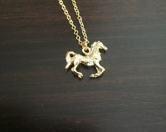 horse necklace, horse, horse jewelry, horse pendant, gold horse necklace, gold horse, horse pendant necklace, gold necklace, necklace