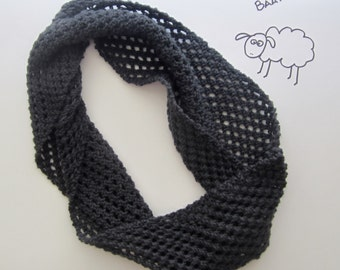 Wool Circle Scarf - Dark Grey Knit Infinity Scarf - Hand Knitting