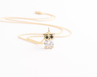 Gold owl necklace | Tiny pendant necklace, Cubic zirconia charm necklace, Simple jewelry, Sparkly bird necklace, Gemstone necklace