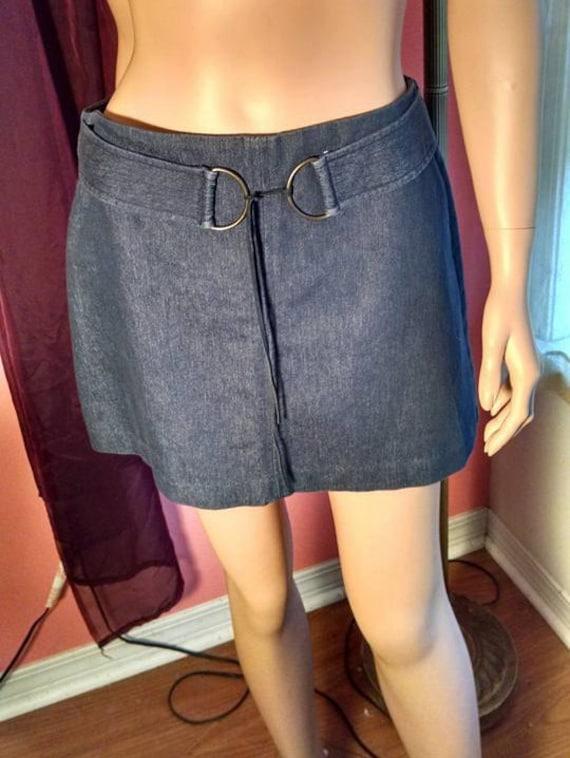 Sale 1980s Denim Mini Skirt w/Belt Size by TreasuresbytheGulf