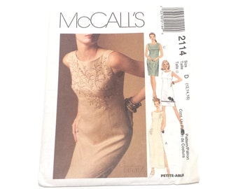 McCall's 2114, Creative Clothing, Misses Lined Dress, Uncut Pattern, Size 12 14 16, Petite-Able, Embellished Pattern