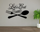 Let's Eat Family Dinner Dinner Table Food Kitchen Cooking Personalized Word Art Vinyl Wall Decal Sticker
