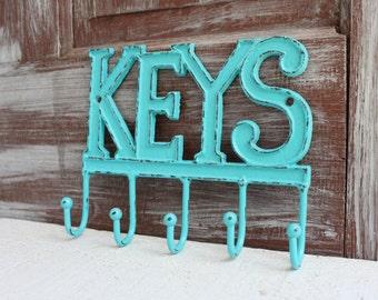 Key Holder for Wall, Key Hook, Aquamarine Blue, Metal Iron Wall Hook,  Entryway Key Organizer, Key Hanger, Key Rack