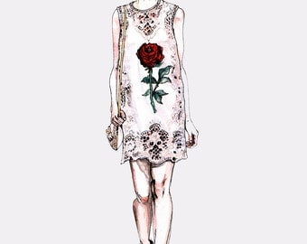 The Rose, Dolce and Gabbana Fashion Illustration Mini Art Print