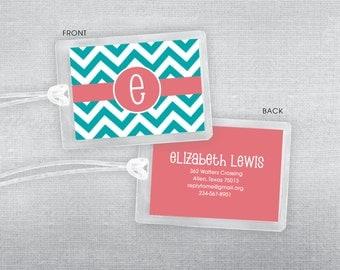 Chevron initial luggage tag. Bag tag.