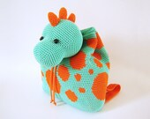 Crochet pattern for dino backpack. Cute and practical accessory for kids. Charts with symbols, written instructions, photo tutorial.