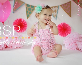SHIPS NEXT DAY!  Pink Lace Petti Romper, Photo Prop, Adorable Birthday Outfit!!! Flower Sash and Headband also Available!