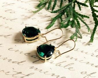 Emerald Earrings,Emerald Green Teardrop,Bridal Jewelry,14K Gold Filled Earrings,St Patricks Day,High Fashion Glass Crystal Teardrops