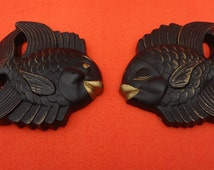 A Pair (2) of Mid Century Chalkware Plaster Wall Plaques from 1954 Miller Studio Inc.