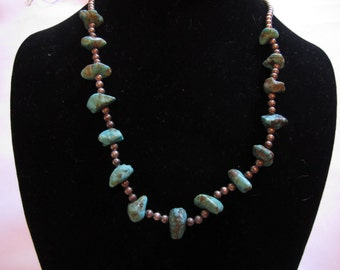 Vintage Sterling & Turquoise Nugget Necklace