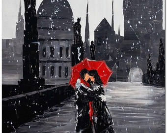 Romance in Prague - Signed Hand Painted Palette Knife Cityscape Oil Painting On Canvas