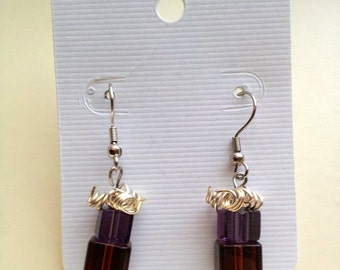Beaded Purple and Brown Christmas Present Dangle and Drop Earrings