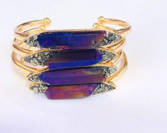 50% Off Mother's Day SALE, Boho Bracelet, Bohemian bracelet, Aura Bracelet, Pyrite Bracelet, Crystal Quartz Bracelet, Bridesmaids Bracelet,