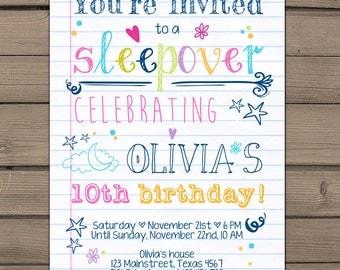 Sleepover Party Invitation Birthday invitation sleepover Teen birthday Doodle Sweet 16 Girl birthday pajamas Digital Printable ANY AGE