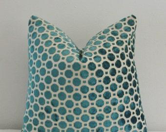 Turquoise  Geo Velvet Pillow Cover Robert Allen Geo Velvet Turquoise 18x18 20x20 Pillow Cover 18 20 22 24 26 Euro