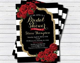Bridal shower invitation. Red rose, Black white stripe, gold glitter. Bachelorette party, hen's night digital invite BS120