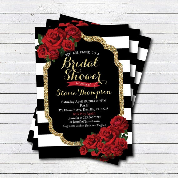 Bridal shower invitation. Red rose Black white stripe gold
