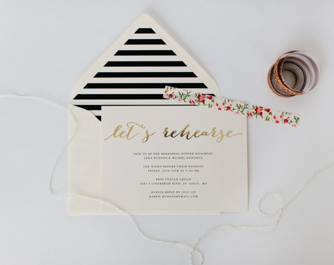 gold foil rehearsal dinner invitation (sets of 10) // lola louie paperie