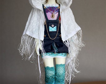 BJD Clothes - Twins girl Jeans overalls and jacket ( for MSD bjd doll, Little Gem)