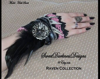 Gothic Wrist Cuff SILVER SPIKES Feathers Black LEATHER Victorian Lace Skull