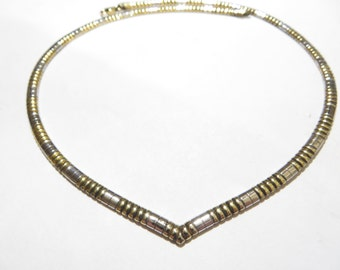 Vintage Italian Two-Tone Sterling Silver V Necklace