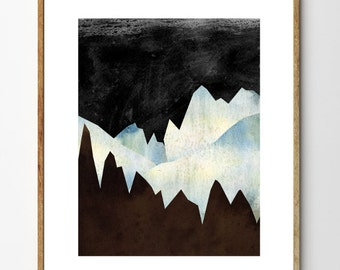 On a Distant Planet - Landscape Painting, Mountain Art, Surreal Painting, Nature Prints, Sci Fi Art, Mountain Painting, Watercolor Print