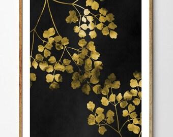 Golden Branches - Floral Art, Botanical Print, Leaf Print, Botanical Poster, Woodland Nursery, Watercolor Flowers, Forest Print, Nature Art