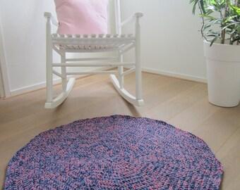 Round rug blue and pink nursery rug playroom rug