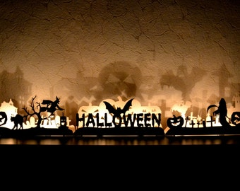 Halloween decoration bat cat witch pumpkin grave cross ghost horror candlestick Fireplace decor Light decoration wooden letters