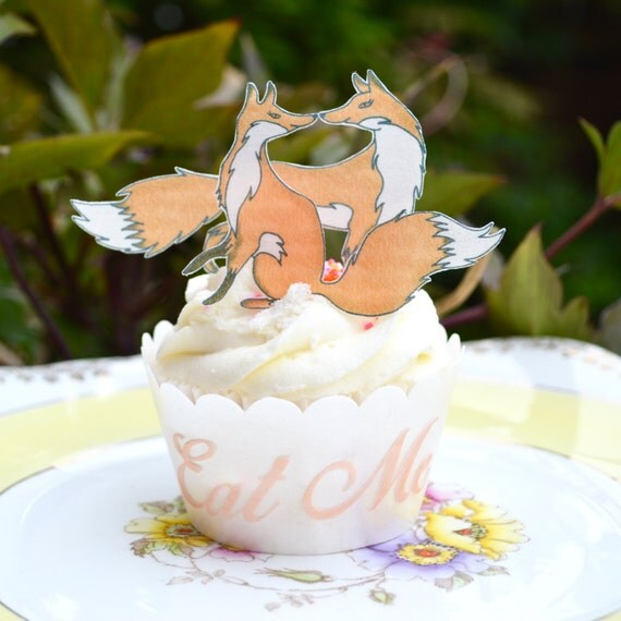 Rice Paper Cake Toppers Foxes