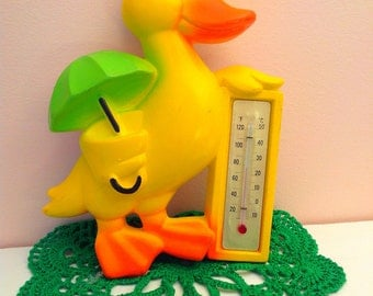 Cute 1977 Miller Studio duck chalkware with thermometer