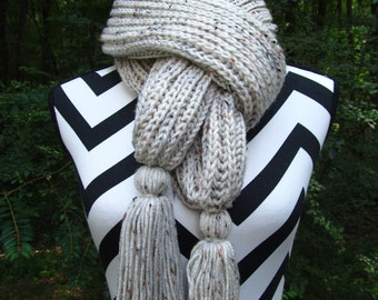 READY to SHIP-Hand Knit on Needles-Long Winter Scarf-Aran Fleck