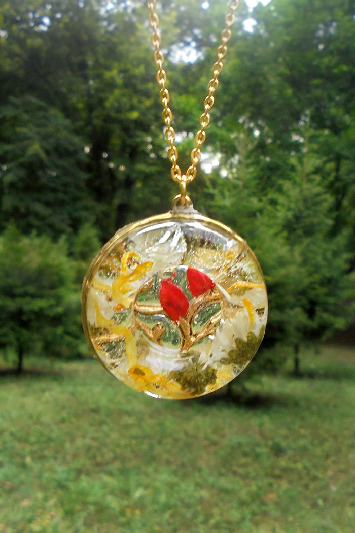 Resin Pendant Necklace White Red Jewelry Gift For By Sweetline