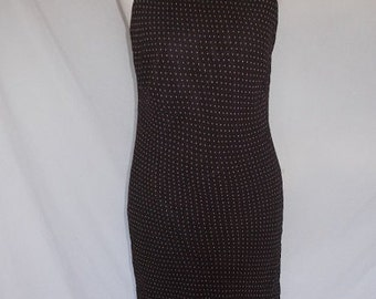 Vintage dress 90s Christian Berg Stockholm Chocolate Brown cream spotted bias cut dress size medium
