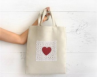 SALE!!! CHRISTMAS GIFT, Holiday Gift, Hand Sewn Tote Bag, Lace, Heart Bag, Upholstery Fabric, Market Bag, Shopping Bag, Gift, Gift For Her