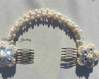 Stunning bridal flower hair piece, handmade in the UK with Freshwater pearls, Swarovski Crystals & quality crystal rhinestones