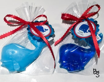 25 Whale Soap Favors, Baby Shower Favors, Nautical Themed Party, Navy Blue Whale
