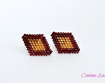 Stud earrings, Beaded earrings, Beadwork earrings, Beaded jewelry, Beadwoven earrings, Seed bead earrings, bead weaving jewelry