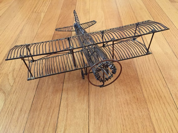 Vintage airplane copper wire art retro airplane copper 3d for 3d wire art