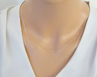 Plain Chain Necklace, Fine Sterling silver chain, Thin cable chain necklace, Dainty Gold fill chain necklace, Replacement chain