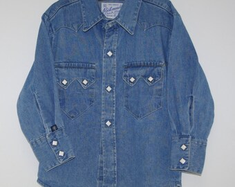 Vintage Denim Cowboy-Cowgirl Shirt By Rockmount Ranch Wear Boy's Size ? Diamond Snaps American Made Free US Shipping