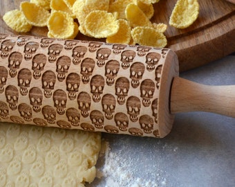 Skull pattern Engraved Rolling pin Wooden Custom cookie stamp Gift for Her Women Baking Kitchen gift House warming gift | 81 |