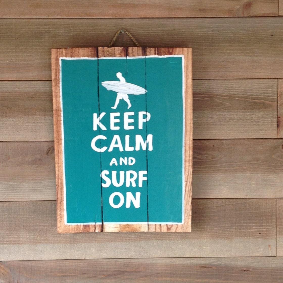Keep calm surf panneau en bois d coratif peinture sur bois - Peinture bois sur fer ...
