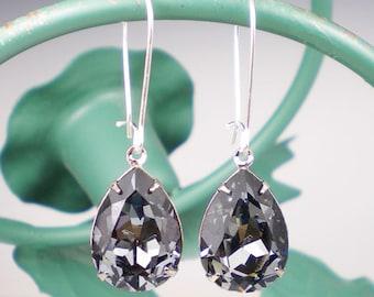 Grey Rhinestone Earrings Wedding Jewelry Bridesmaid Earrings Swarovski Crystal Silver Night MADE TO ORDER