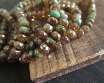 brown and green Czech glass beads mix , mini faceted rondelle czech beads , small spacer  mix earth tone 3mm x 5mm / 30 beads  5CZ1009