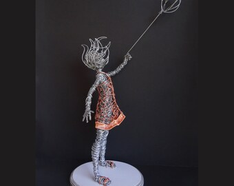 "Girl with Balloon Wire Sculpture Mixed Metal 23"" Tall"